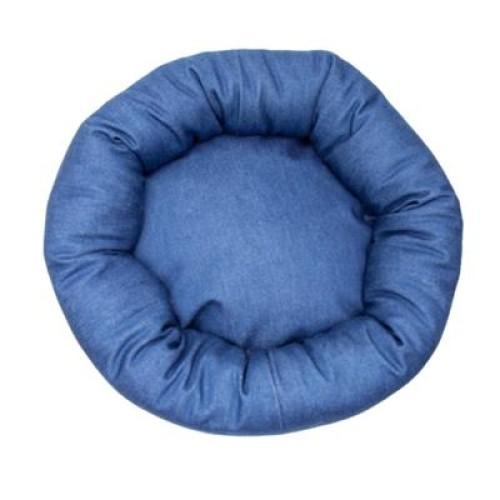 Blue Denim Fabric Round Pet Bed