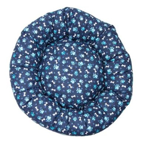 Blue Paw Cotton Fabric Round Pet Bed