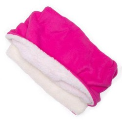 Bright Pink Solid Fleece Fabric Pocket Pet Bed