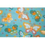 Butterflies on Teal Printed Fleece Fabric Blanket Pet Bed