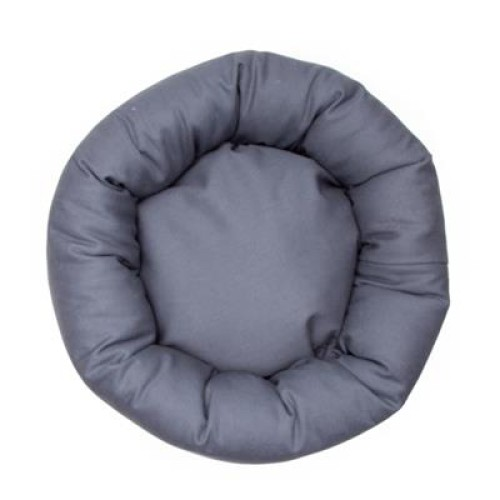 Charcoal Gray Denim Fabric Round Pet Bed