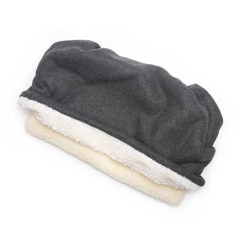 Charcoal Gray Solid Fleece Fabric Pocket Pet Bed