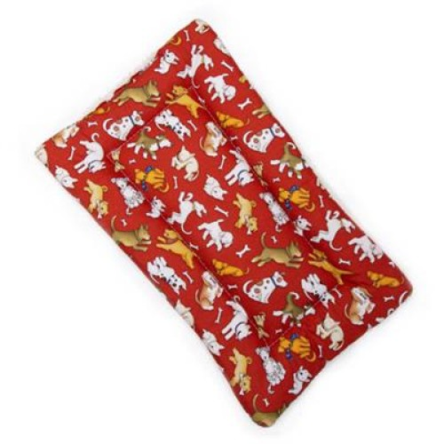 Love Dog Red Cotton Fabric Flat Pet Bed