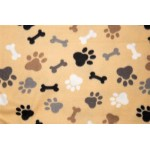 Tan Bones and Paws Printed Fleece Fabric Blanket Pet Bed