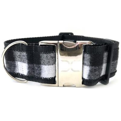 Buffalo Plaid Glacier White Extra Wide Dog Collar
