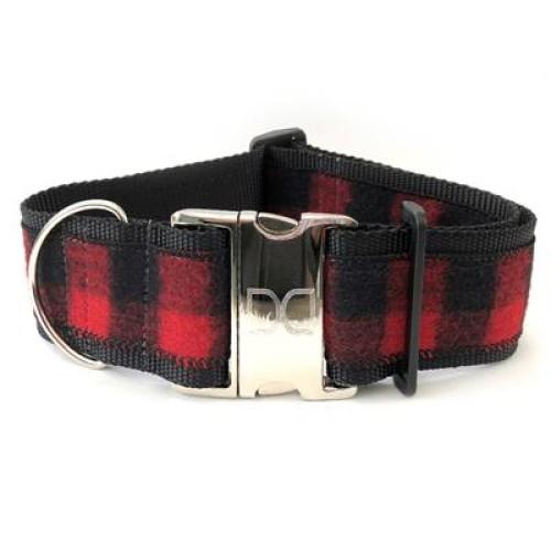Buffalo Plaid Sierra Red Extra Wide Dog Collar