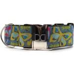 Butterfly Garden Extra Wide Dog Collar & Hot Pink Velvet Leash