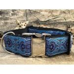 Kashmir Peacock Blue Extra Wide Dog Collar & Midnight Blue Velvet Leash