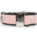 Love Notes Extra Wide Dog Collar & Hot Pink Velvet Leash