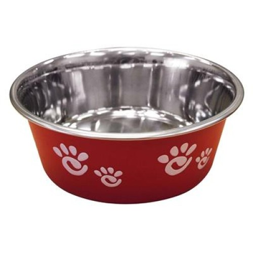 Ethical Products Barcelona Stainless Steel Paw Print Bowl Raspberry 32oz