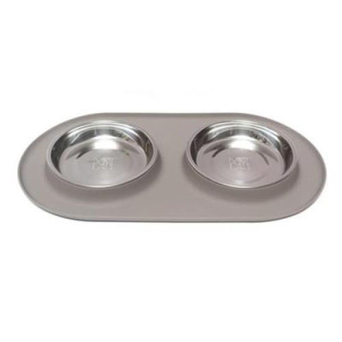 Messy Mutts Cat Double Feeder Silicone Grey