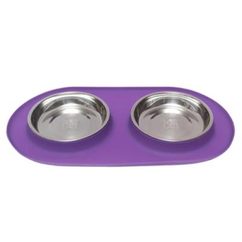 Messy Mutts Cat Double Feeder Silicone Purple