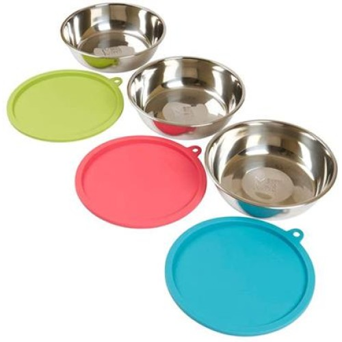 Messy Mutts Dog Bowl & Lid Set 3 Cup 6 Pack