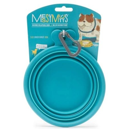 Messy Mutts Dog Collapsible Bowl Blue 1.5 Cup