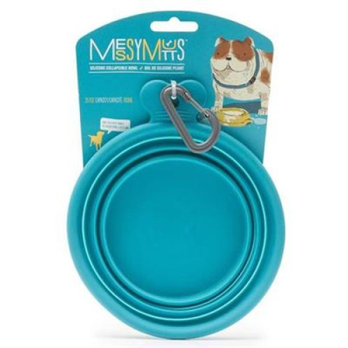 Messy Mutts Dog Collapsible Bowl Blue 3 Cup