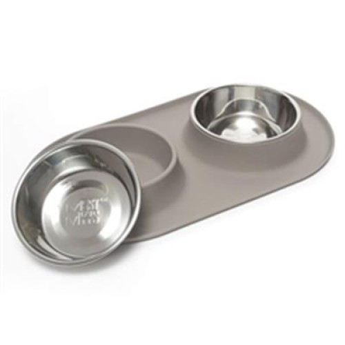 Messy Mutts Dog Double Feeder Grey 3 Cup