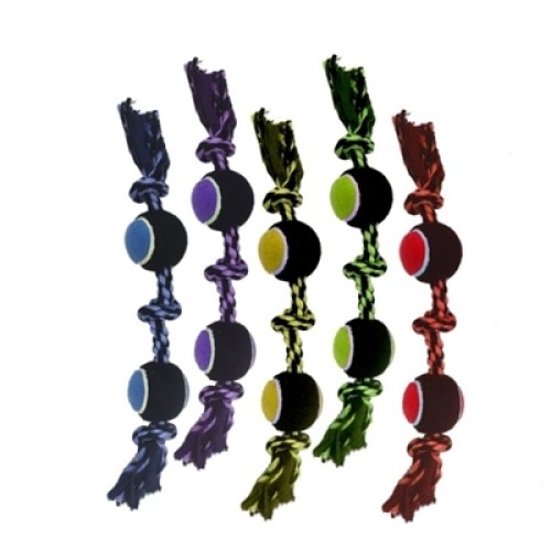 """Multipet Nuts For Knots 3 Knot Rope W/ 2 Tennis Balls (Assorted Colors) 20"""""""
