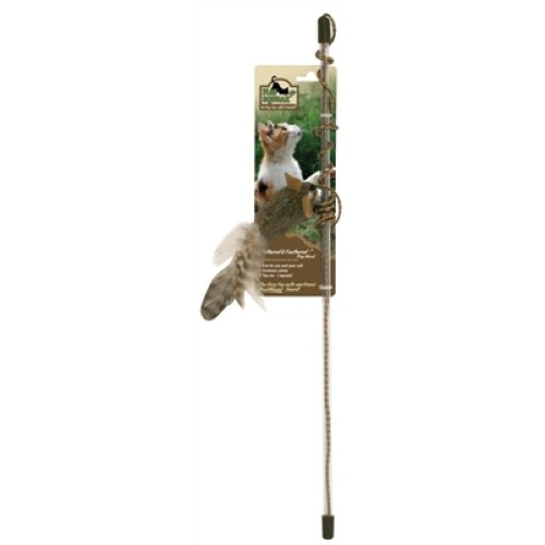 Ourpet's Play-N-Squeak Teathered And Feathered Play Wand